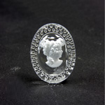 German Glass Flat Back Reverse Carved Intaglio Back Woman's Head - Oval 25x18MM MATTE CRYSTAL on CRYSTAL