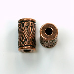 Metalized Plastic Engraved Bead - Cylinder 17x8MM ANT COPPER