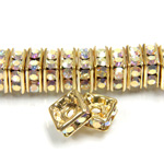 Czech Rhinestone Rondelle - Square 06MM CRYSTAL AB-GOLD