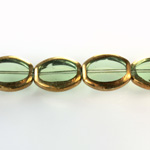 Glass Fire Polished Table Cut Window Bead - Oval 16x14MM TOURMALINE with METALLIC COATING