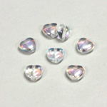 Czech Pressed Glass Bead - Smooth Heart 08x8MM CRYSTAL AB