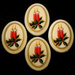 German Plastic Porcelain Decal Painting - Christmas Candle (2099) Oval 40x30MM IVORY