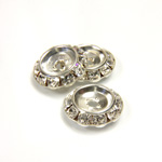 Czech Rhinestone Rondelle Shrag Flat Back Setting - Round 15MM outside with 9mm Recess CRYSTAL-SILVER