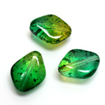 Plastic Bead - Two Tone Speckle Color Flat Diamond 20x16MM GREEN YELLOW