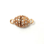 Magnetic Rhinestone Clasp - Oval 14x11MM CRYSTAL ROSE GOLD
