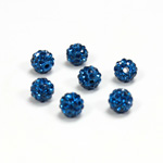 Rhinestone Bead Pave with 1.0MM Hole Metal Base Round 06MM CAPRI BLUE