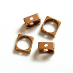 Brass Machine Made Bead - Rings Side Drilled 06MM Square Frame