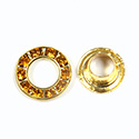 Czech Rhinestone GroMMet 2-part TOPAZ-RAW