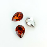 Plastic Point Back Foiled Stone - Pear 14x10MM SMOKE TOPAZ
