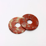 Gemstone Bead - Donut Round Smooth 35MM BRECIATED JASPER