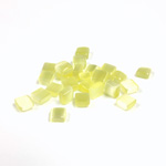 Fiber-Optic Flat Back Buff Top Straight Side Stone - Square 04x4MM CAT'S EYE YELLOW