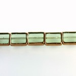 Glass Fire Polished Table Cut Window Bead - Cushion 12x10MM TOURMALINE with METALLIC COATING