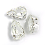 Crystal Stone in Metal Sew-On Setting - Pear 10x6MM CRYSTAL-SILVER