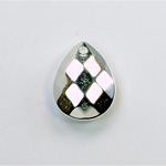 Metalized Plastic Pendant- Faceted Drop 18x14MM SILVER