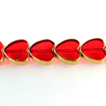 Glass Fire Polished Table Cut Window Bead - Heart 14MM RUBY with METALLIC COATING