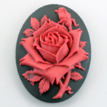 Plastic Cameo - Rose Flower Oval 40x30MM RED ON BLACK