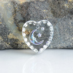 German Glass Engraved Buff Top Intaglio Pendant - MOON & STARS Heart 15x14MM CRYSTAL CRYSTAL AB