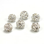 Rhinestone Bead Pave with 1.5MM Hole Metal Base Round 08MM CRYSTAL