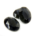 Gemstone Flat Back Stone with Faceted Top and Table - Oval 18x13MM BLACK ONYX