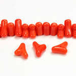Czech Pressed Glass Bead -Tri-Y 11x9MM CORAL