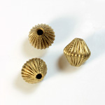 Brass Corrugated Bead - Standard Bicone 10MM RAW