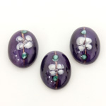 Glass Medium Dome Lampwork Cabochon - Oval 18x13MM WHITE ON AMETHYST (00569)