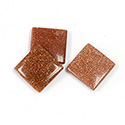 Man-made Gemstone Flat Back Single Bevel Buff Top -  Square 12x12MM BROWN GOLDSTONE