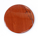 Gemstone Flat Back Buff Top Straight Side Stone - Round 35MM RED JASPER