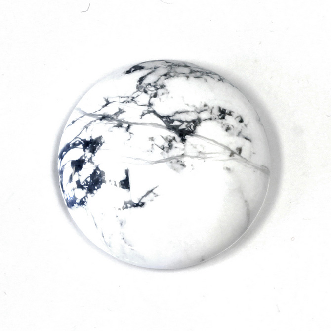 Gemstone Cabochon - Round 35MM WHITE HOWLITE