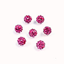 Rhinestone Bead Pave with 1.0MM Hole Metal Base Round 06MM FUCHSIA