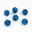 Rhinestone Bead Pave with 1.5MM Hole Metal Base Round 08MM BLUE ZIRCON