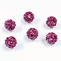 Rhinestone Bead Pave with 1.5MM Hole Metal Base Round 08MM FUCHSIA