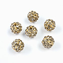 Rhinestone Bead Pave with 1.5MM Hole Metal Base Round 08MM LT COLORADO TOPAZ