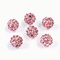 Rhinestone Bead Pave with 1.5MM Hole Metal Base Round 08MM LT ROSE