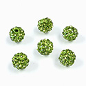 Rhinestone Bead Pave with 1.5MM Hole Metal Base Round 08MM OLIVINE