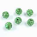 Rhinestone Bead Pave with 1.5MM Hole Metal Base Round 08MM PERIDOT