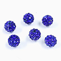 Rhinestone Bead Pave with 1.5MM Hole Metal Base Round 08MM SAPPHIRE