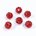 Rhinestone Bead Pave with 1.5MM Hole Metal Base Round 08MM SIAM RUBY