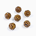 Rhinestone Bead Pave with 1.5MM Hole Metal Base Round 08MM SMOKE TOPAZ