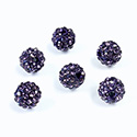 Rhinestone Bead Pave with 1.5MM Hole Metal Base Round 08MM TANZANITE
