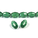 Chinese Cut Crystal Bead - Oval 09x6MM DARK EMERALD
