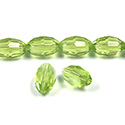 Chinese Cut Crystal Bead - Oval 11x8MM LT OLIVINE