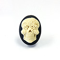 Plastic Cameo - Day of the Dead Oval 25x18MM IVORY ON BLACK
