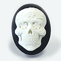 Plastic Cameo - Day of the Dead Oval 40x30MM WHITE ON BLACK