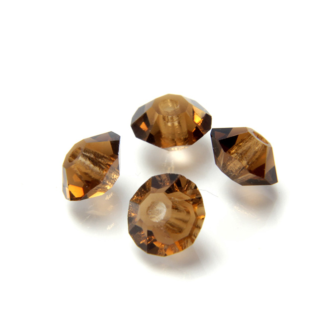 Czech Glass Machine Cut Faceted Round Crystal Beads medium brown color Topaz