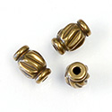 Brass Machine Made Bead - Fancy Barrel 09MM RAW