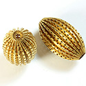 Brass Corrugated Bead - Standard Oval 35x22MM RAW