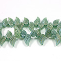 Glass Lampwork Bead Engraved - Leaf 8X18MM MATTE EMERALD AB
