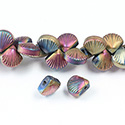 Glass Lampwork Bead Engraved - Fan Shell 10MM MAT ROSE BRONZE COAT on CRYSTAL