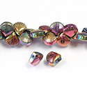 Glass Lampwork Bead Engraved - Fan Shell 10MM SHINY ROSE BRONZE COAT on CRYSTAL